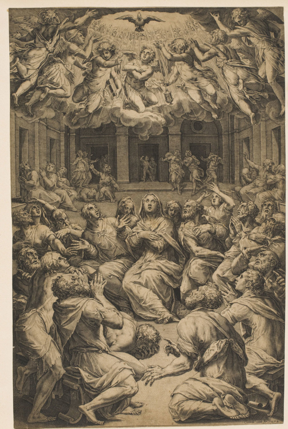 Pentecost  , 1574, by Cornelis Cort, Dutch from the  Philadelphia Museum of Art