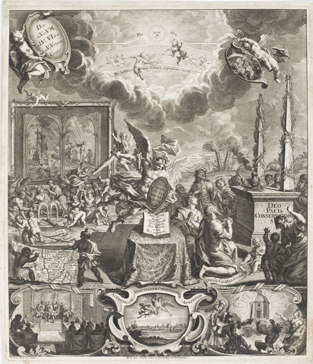 Allegory of the Augsburg Confession  , 1730, by Balthasar Siegmund Setletzky, German from the  Philadelphia Museum of Art