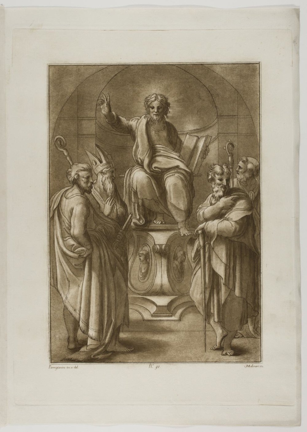 Christ Enthroned with Saints  , c. 1774, by Stefano Mulinari, Italian from the  Philadelphia Museum of Art