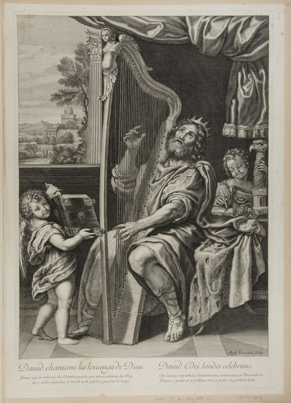 David Playing the Harp (David chantant les louanges de Dieu)  , c. 1670, by Gilles Rousselet, French from the  Philadelphia Museum of Art
