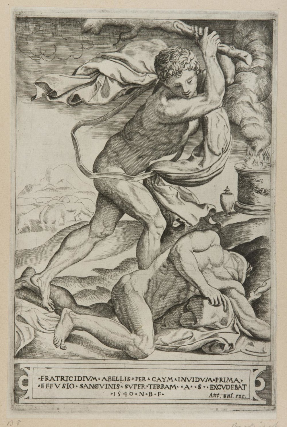 Cain Killing Abel  , c. 1540, by Nicolas Beatrizet, French from the  Philadelphia Museum of Art