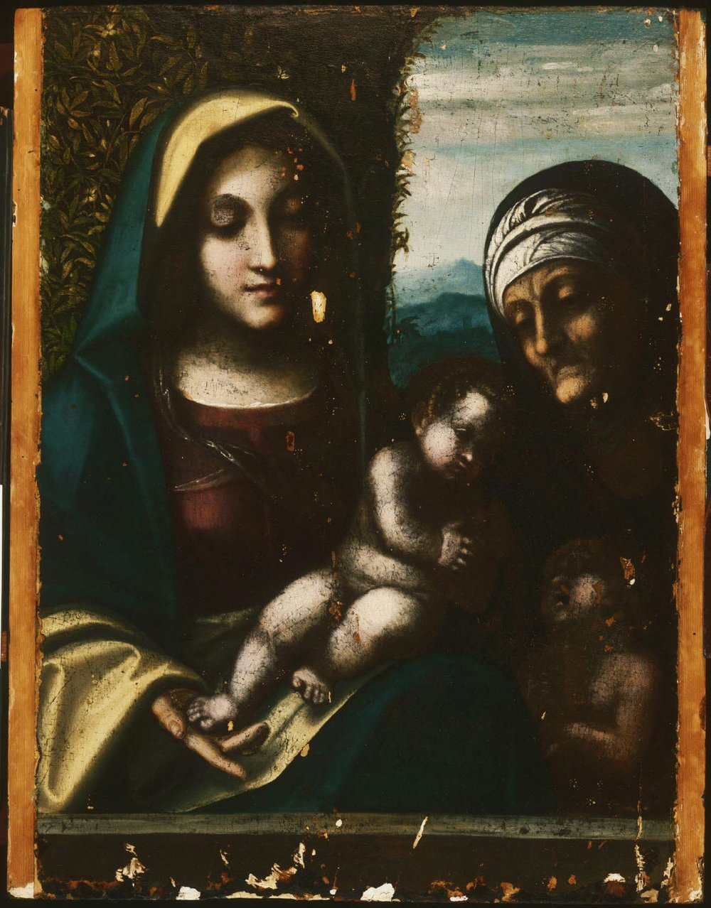 Virgin and Child, with Saint Elizabeth and the Young Saint John the Baptist  , c. 1510-1512, by Correggio , Italy from the  Philadelphia Museum of Art