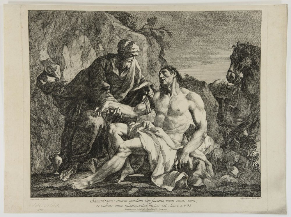 The Parable of the Good Samaritan  , mid-18th to early 19th Century, by Jacopo Guarana, Italian from the  Philadelphia Museum of Art