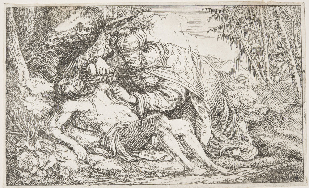 The Wounded Man tended by the Samaritan  , mid- to late 17th Century, by Jonas Umbach, German from the  Philadelphia Museum of Art