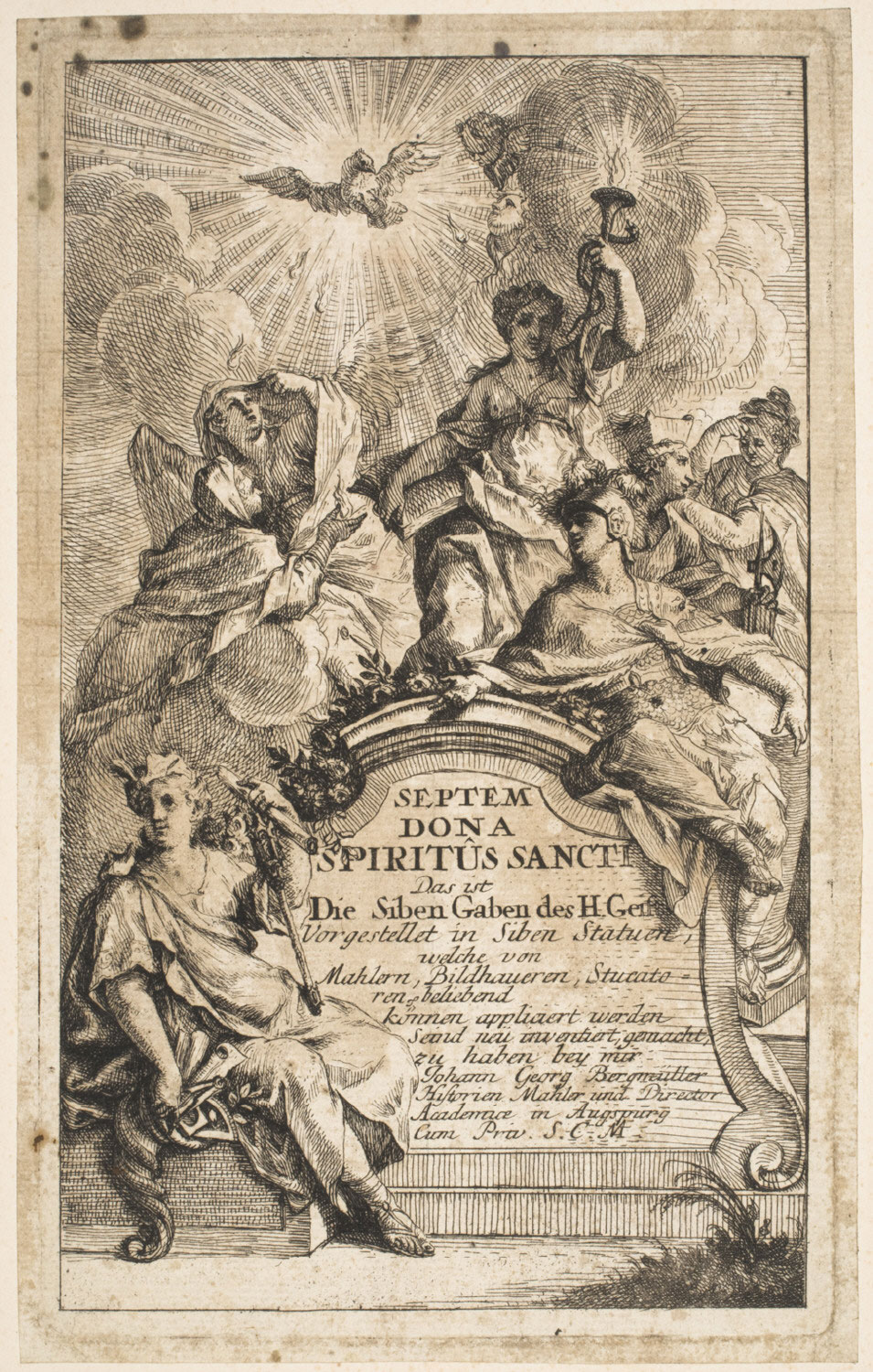 The Seven Gifts of the Holy Spirit, Title Page  , c. 1715-1762 , by Johann Georg Bergmüller, German from the  Philadelphia Museum of Art