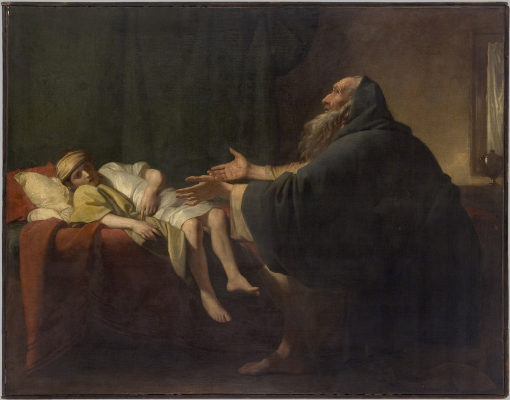 Elijah Raising the Widow's Son  , 1774 , by Benjamin West, English from the  Philadelphia Museum of Art