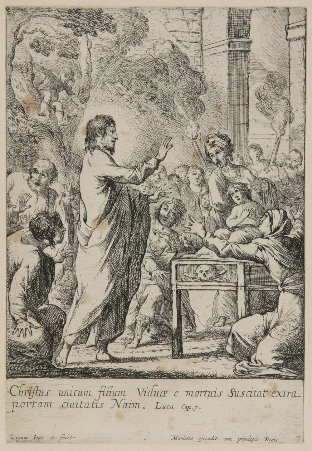 Christ Resuscitating the Son of the Widow from Nain  , 1630s, by Claude Vignon, French from the  Philadelphia Museum of Art