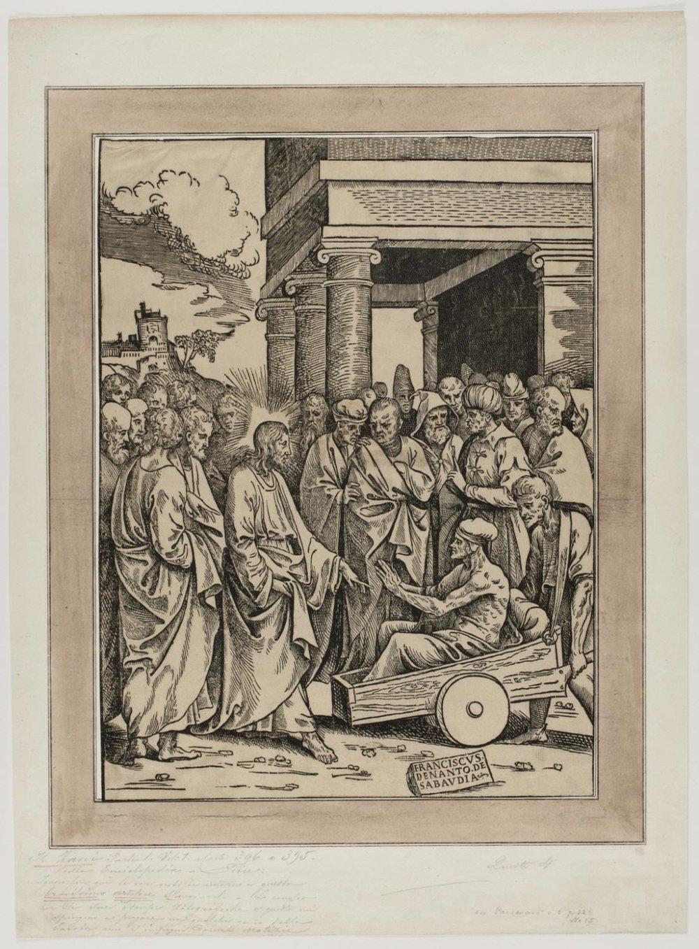 Christ Healing the Paralytic  ,mid-16th Century, by Francesco de Nanto, Italian from the  Philadelphia Museum of Art