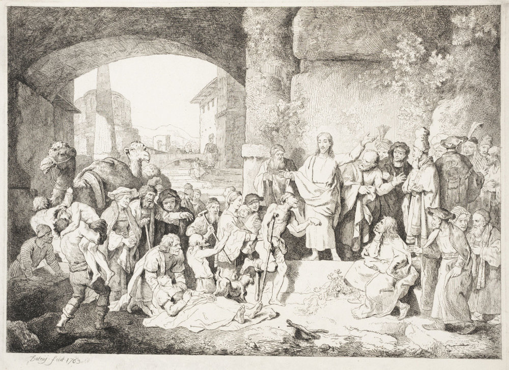 The Large Christ Healing the Sick   , 1763, by Christian Wilhelm Ernst Dietrich, German from the  Philadelphia Museum of Art