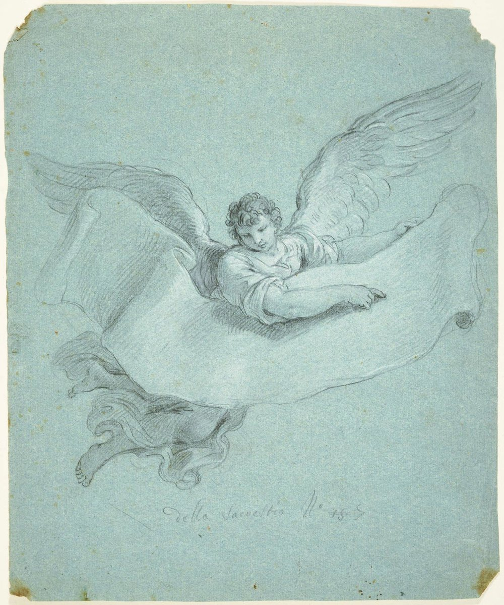Angel Carrying a Scroll  , 1746,  by Stefano Pozzi, Italian.  Philadelphia Art Museum