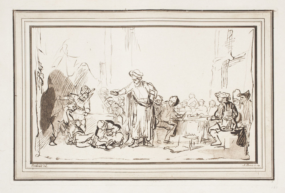 The Parable of the Unworthy Wedding Guest   , 1782, by Adam von Bartsch, Austrian from the  Philadelphia Museum of Art