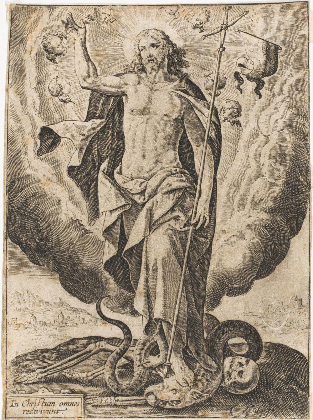 Christ Triumphant,    17th Century , Crispijn de Passe I, Dutch from the  Philadelphia Museum of Art