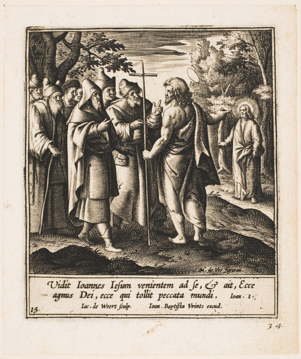 """Behold the Lamb of God..."" (John Calling Christ the Lamb of God),   c. 1593-1600, Jacob de Weert, Flemish from the  Philadelphia Museum of Art"
