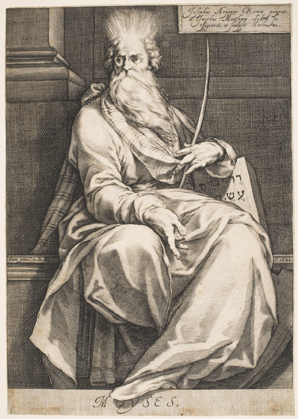 Moses, Seated  , 1602, by Jacob Matham, Dutch from the  Philadelphia Museum of Art