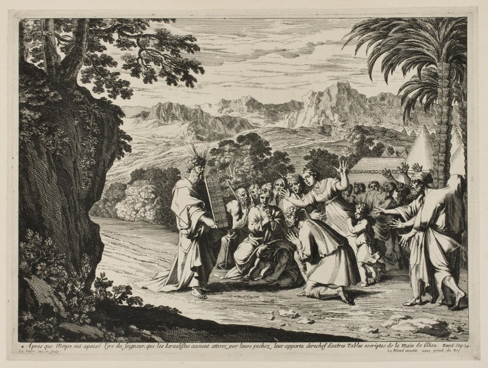 Moses and the Tablets of the Law  , mid 17th century, by Jean Le Pautre, French from the  Philadelphia Museum of Art