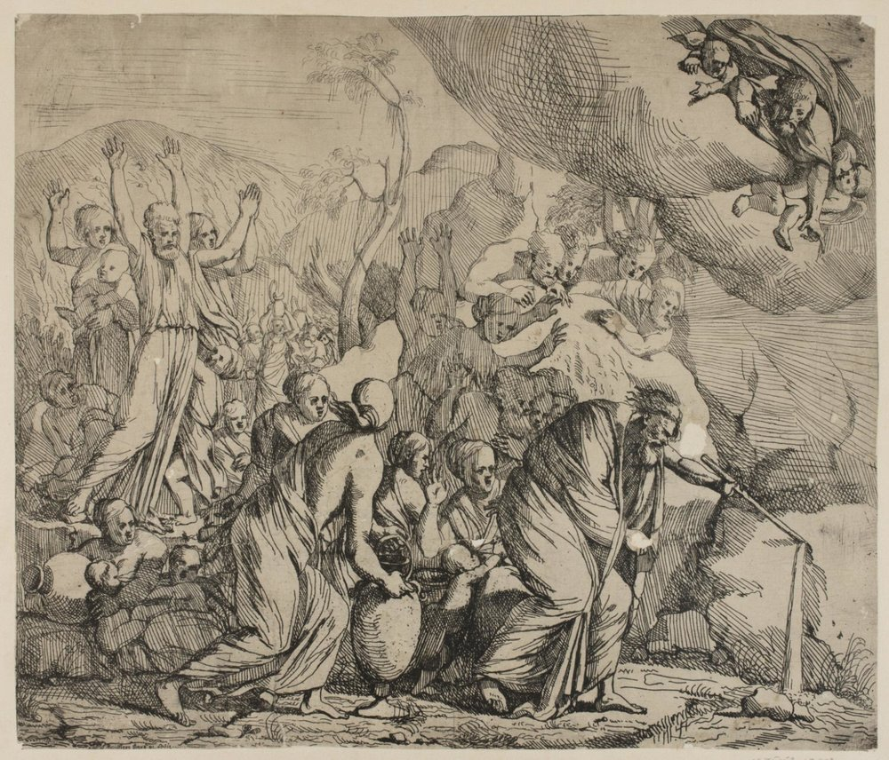 Moses Drawing Water from the Rock  , early 17th century, by Samuel Boissière, French from the  Philadelphia Museum of Art
