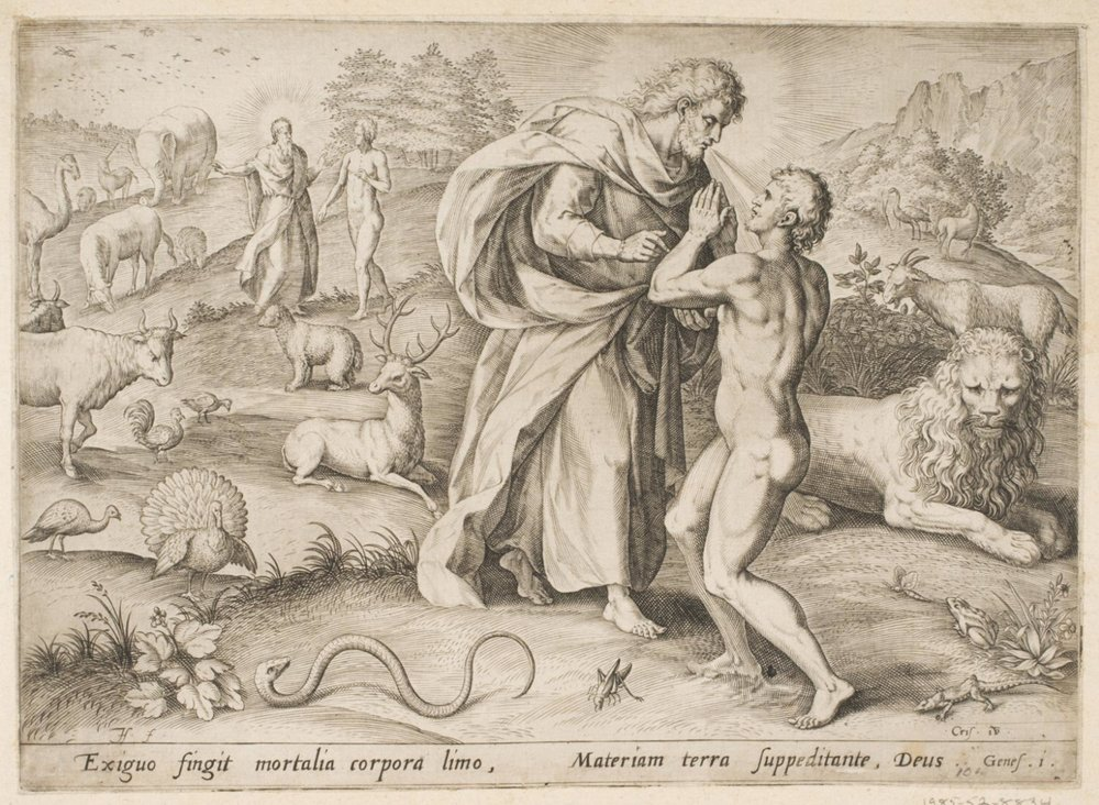 The Creation of Adam  , 1585, by Jan Sadeler I, Flemish from the  Philadelphia Museum of Art