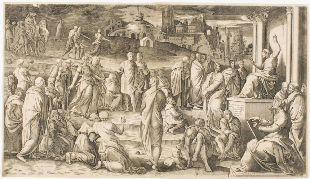 The Sermon on the Mount  , mid 16th century, by Cornelis Bos, Dutch from the  Philadelphia Museum of Art