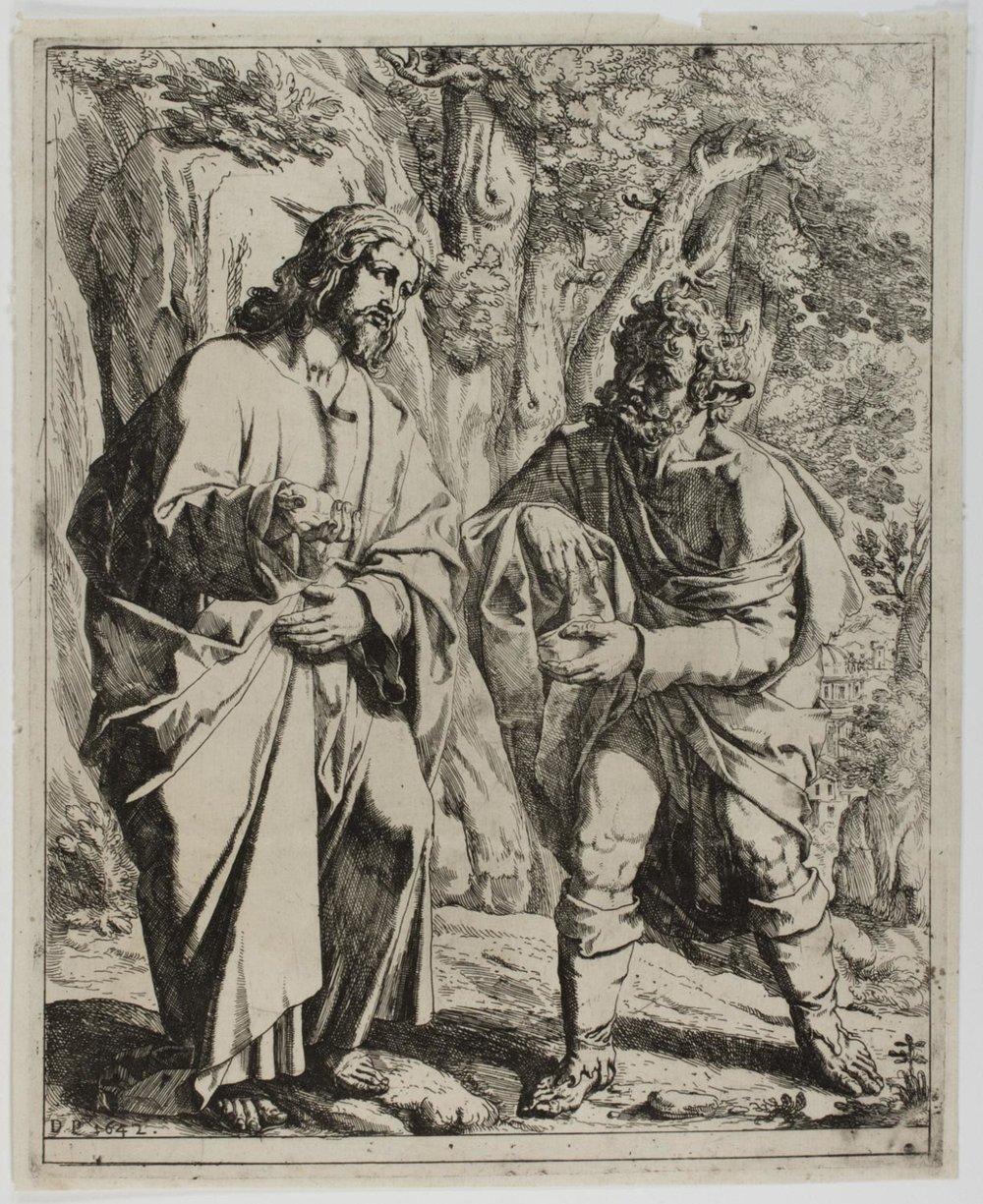 The Temptation of Christ  , 1642, by Domenico Peruzzini, Italian, from the  Philadelphia Museum of Art