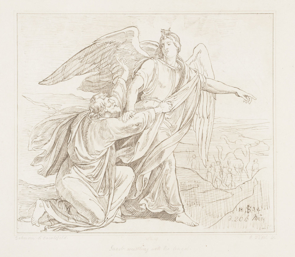 Jacob Wrestling with the Angel  , 1857, by Carl Lödel, German, from the  Philadelphia Museum of Art