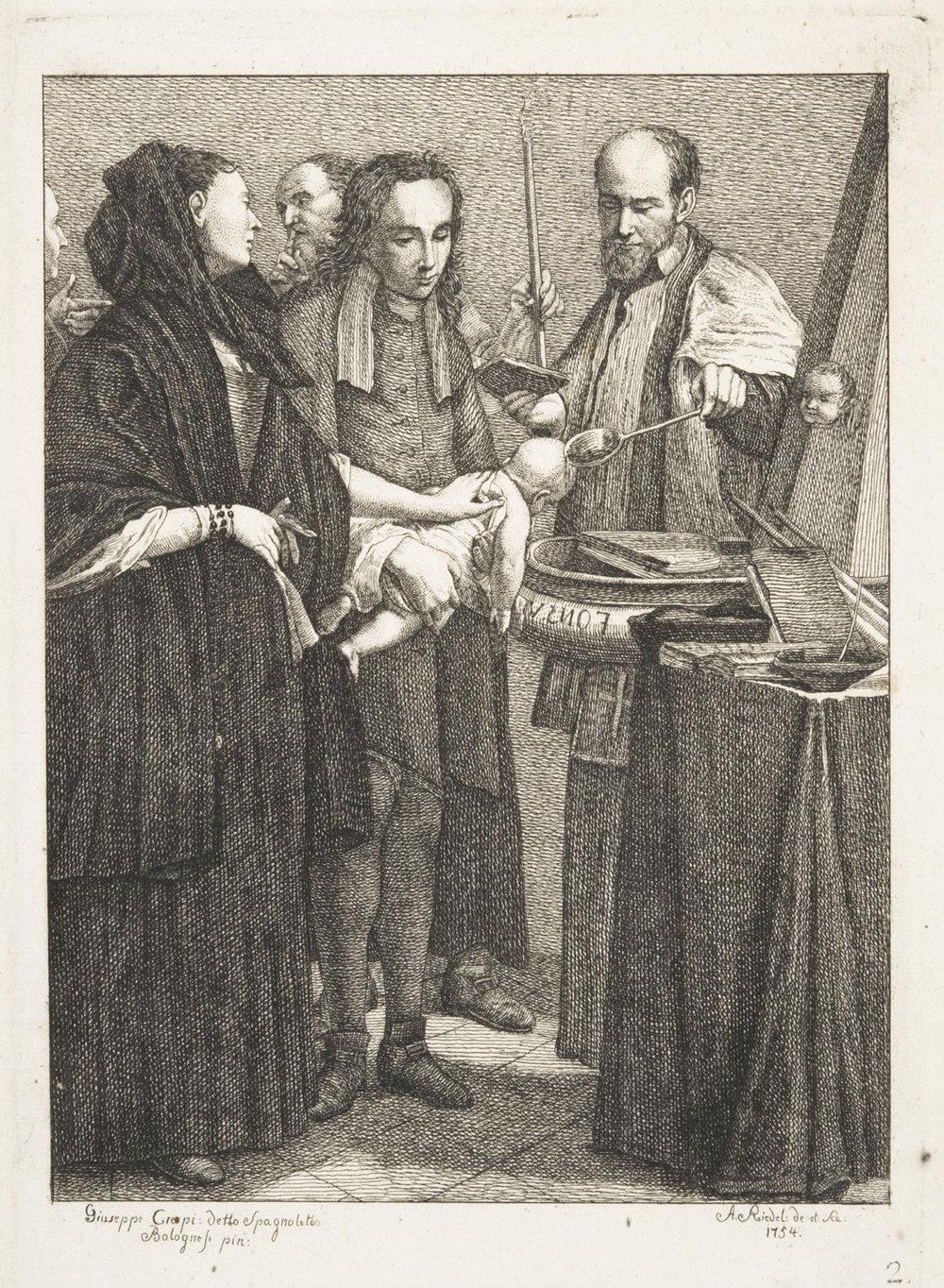 The Sacrament of Baptism,   1754, by Johann Anton Riedel, German, from the  Philadelphia Museum of Art