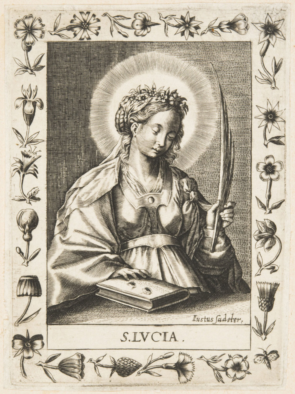 Saint Lucy in a Floral Border  , before 1620, published by Justus Sadeler, Southern Netherlands from the  Philadelphia Museum of Art