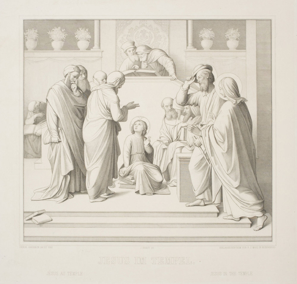 Christ in the Temple  , ca. 1860, by Julius Ernst, Swiss, from the  Philadelphia Museum of Art