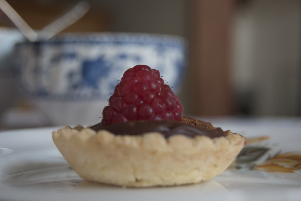 Chocolate, raspberry and hazelnut tart