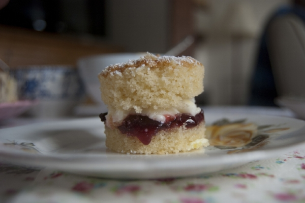 Mini Victoria Sponge cake with butter cream and Strawberry jam