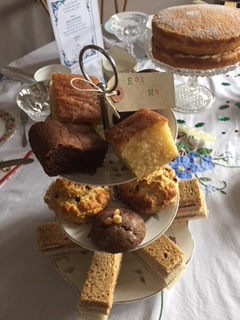 Lemon drizzle, Spice cookies, Fruit scones, brownies and finger sandwiches