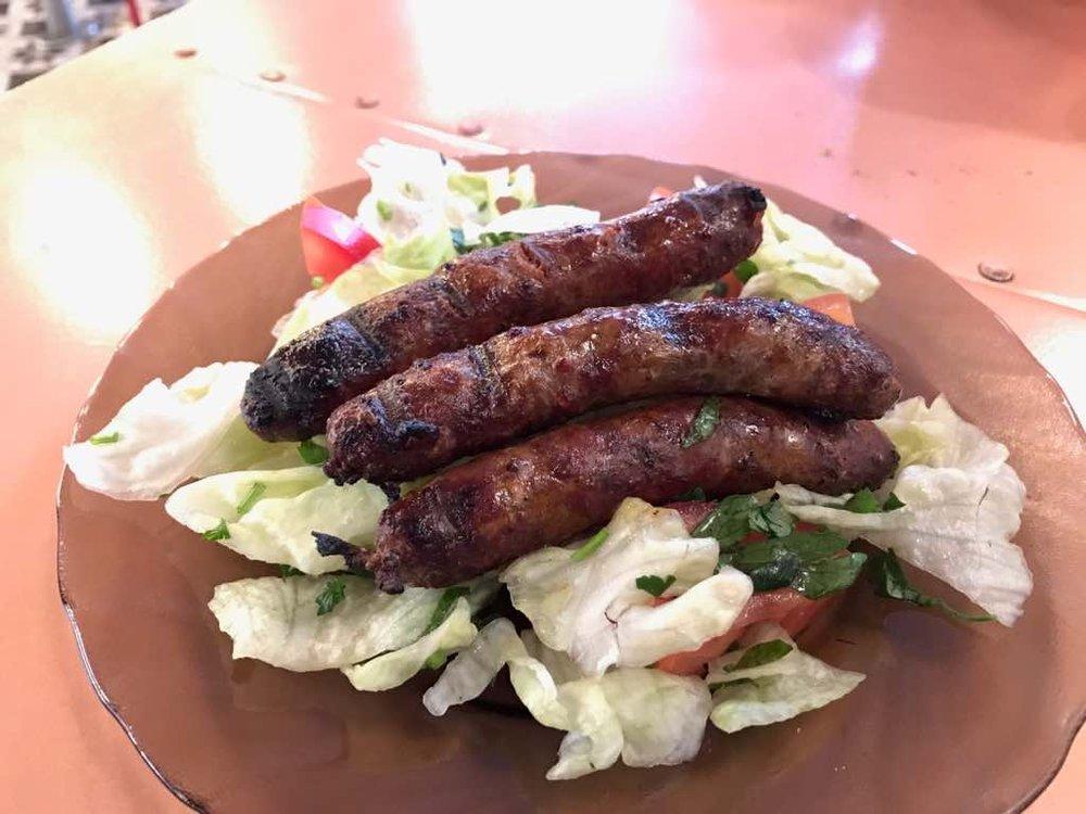 Nakaneek -charcoal grill spicy Lebanese sausage £4.95