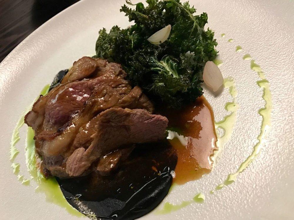 Salt Marsh Lamb , Aubergine, Kale £24.95