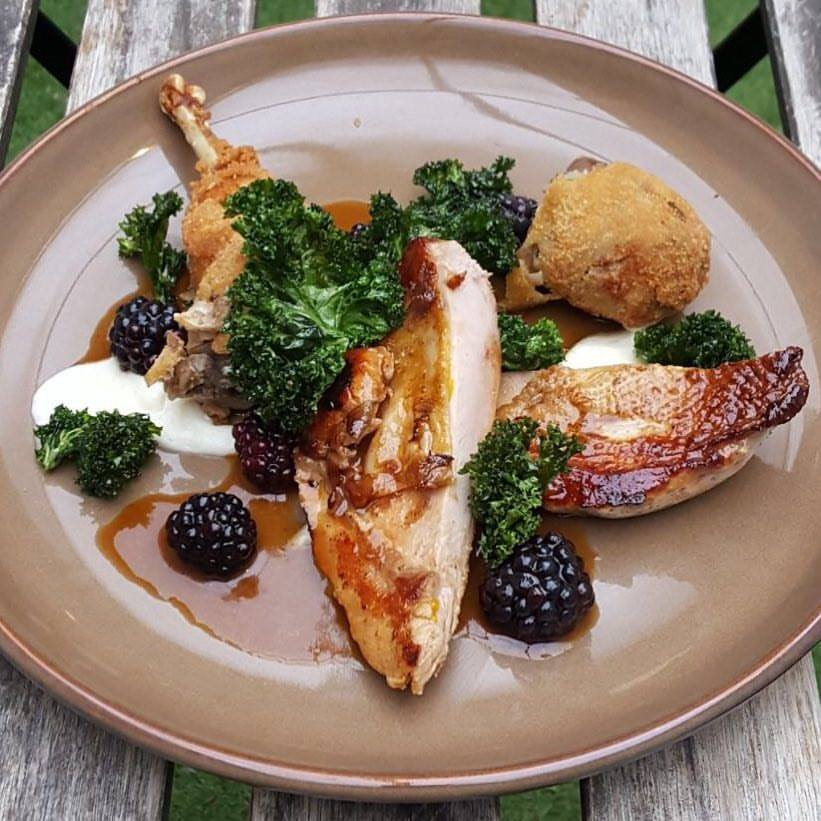 Wild Pheasant, pickled blackberries, celeriac, crispy kale. Image courtesy of The Great Chase.