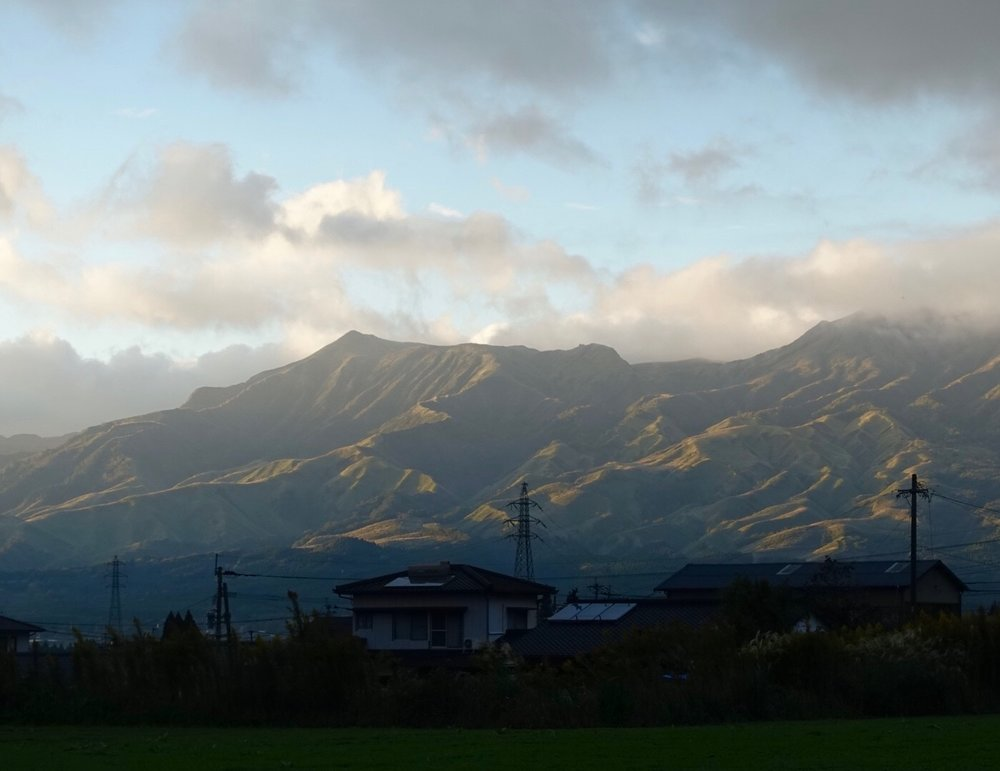 Aso volcano range seen from Takamori, Japan - the location of Pension Matisse and her owners