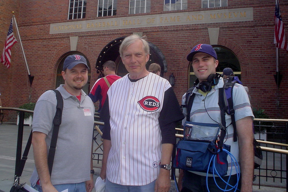 Producer Chad Campbell, Bob Edwards, and audio engineer Geoffrey Redick at the National Baseball Hall of Fame and Museum