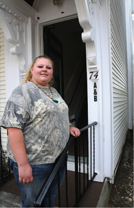 ROBYN YODER IS one of the new residents, and site manager, of the John W. Graham Emergency Shelter's new transitional housing building on Green Street in Vergennes. Independent photo/Trent Campbell