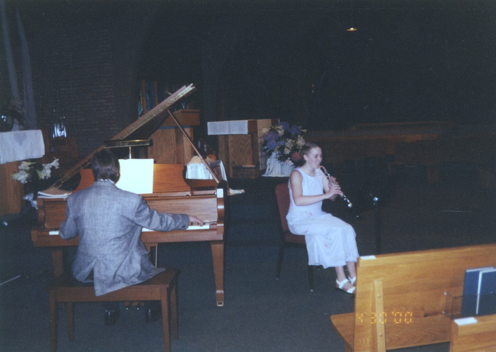 Bruce Clark accompanying an oboe student