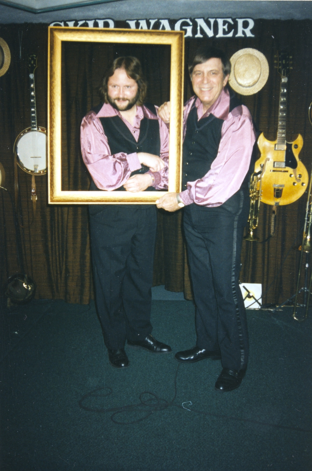 "Bruce Clark posing as the ""Mona Lisa"" with the Skip Wagner Show"
