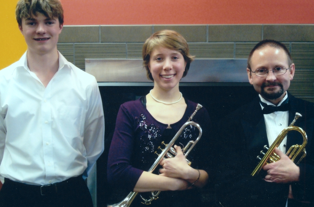 Bruce Clark with trumpet students