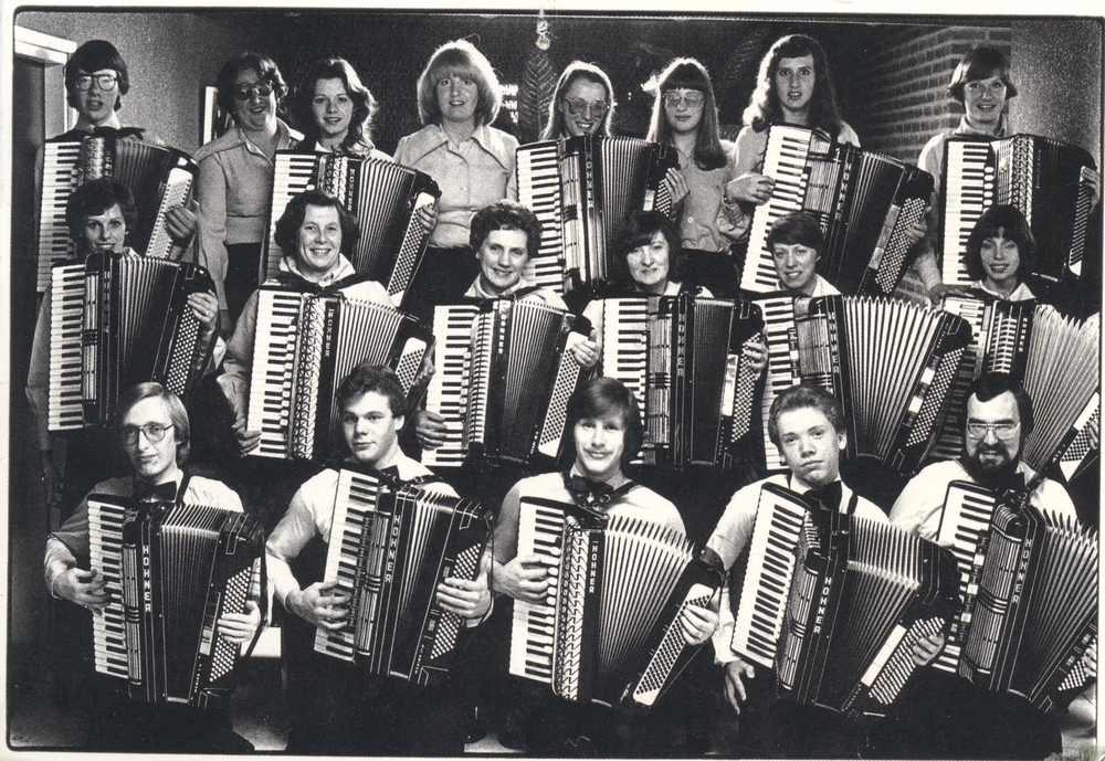 Bruce Clark with an accordion
