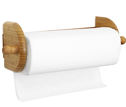 Greenco Premium Bamboo Wall Mount Paper Towel Holder. Made of premium lightweight durable bamboo known to be stronger and more beautiful than regular wood.