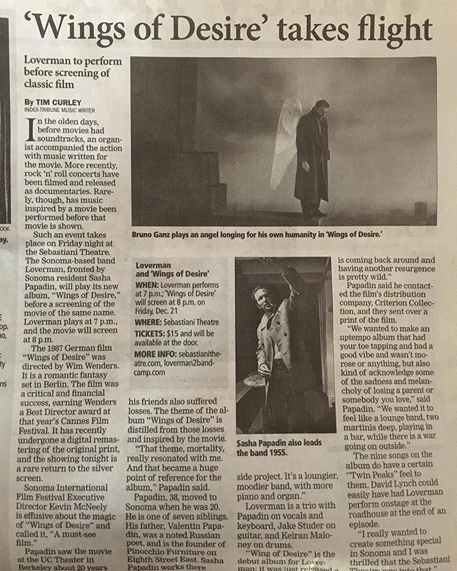 From the first SHOW AND A SHOW thank you @indextribune #showandashow #sebastianitheatre #loverman #wingsofdesire #criterioncollection #wimwenders #brunoganz