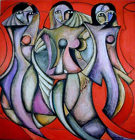 "Three Damas, 2001  72 x 74"". Acrylic on canvas"