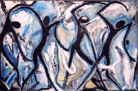 "Organic Dancers, 2001  48 x 72"". Acrylic on canvas"