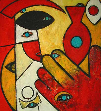 "Hand with Fish, 2004  36 x 40"". Acrylic on canvas"