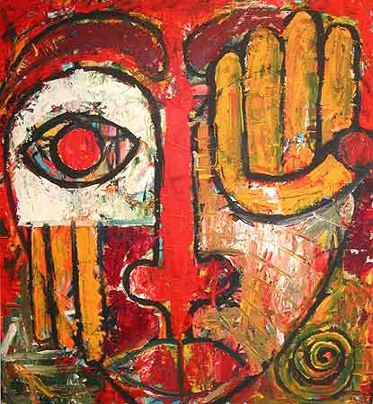 "Culture Face, 2004  36 x 40"". Acrylic on canvas"