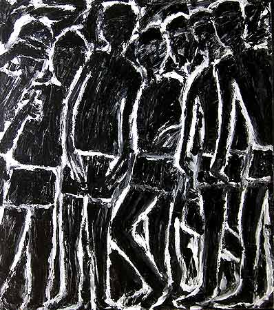 "Boys Standing, 2005 54 x 48"". Acrylic on canvas"