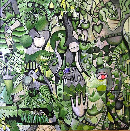 "Red Eye Jungle, 2005 74 x 72"". Acrylic on canvas"