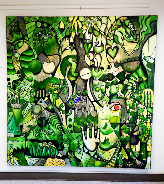 "Red Eye Jungle, 2005. 74 x 72"" acrylic on canvas"