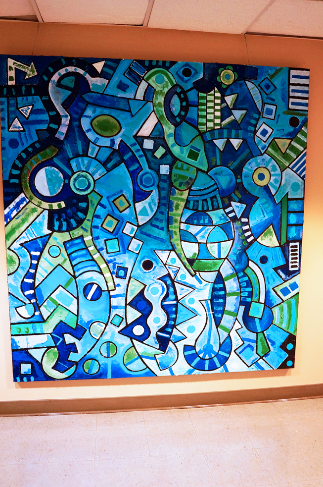 "Azulado, 2006. 74 x 70"". acrylic on canvas"
